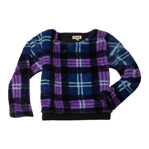 Furry Plaid Top - Sparkling Grape