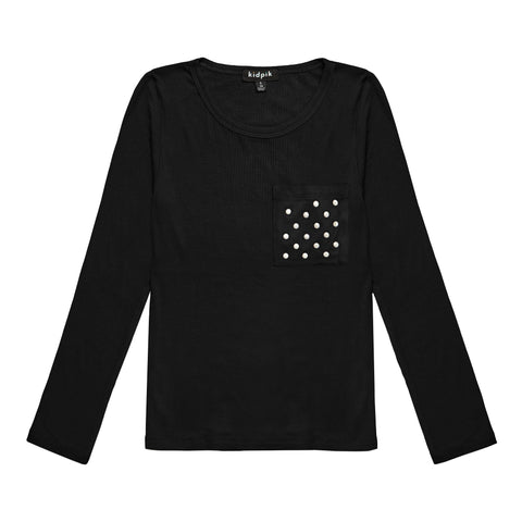 Pearl Pocket Ribbed Crew - Black