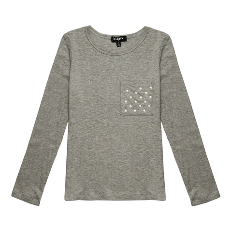 Pearl Pocket Ribbed Crew - Medium Heather Grey