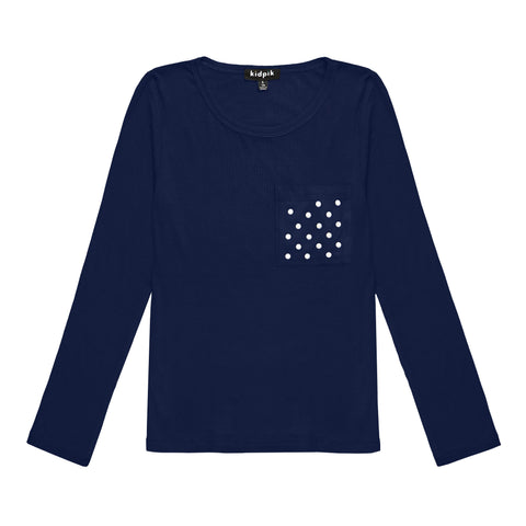 Pearl Pocket Ribbed Crew - Kidpik Navy
