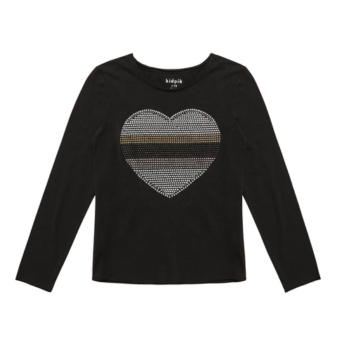 Studded Heart Tee - Black