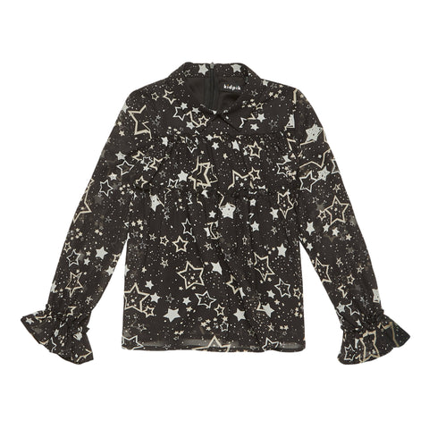 Floating Stars Tiered Ruffle Top - Black