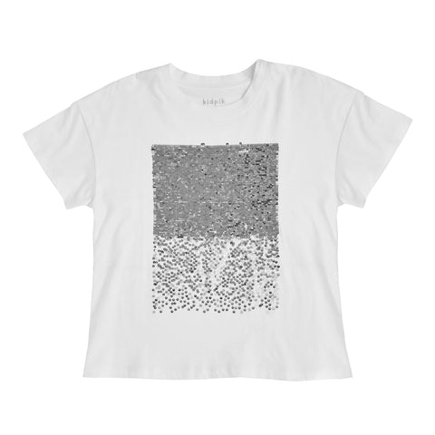 Sequin Oversized Tee - Silver