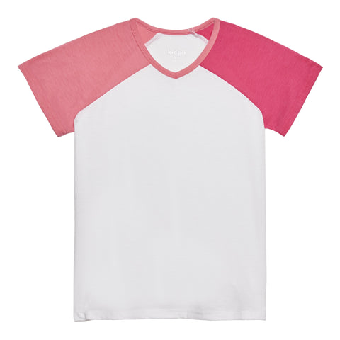 Color Block Active Tee - Camellia Rose