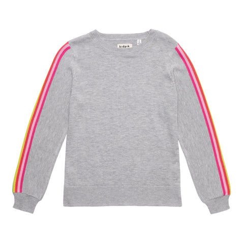 Rainbow Stripe Sleeve Sweater - Multi