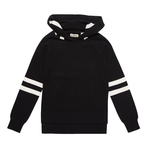Hooded Raglan Sweater - Black