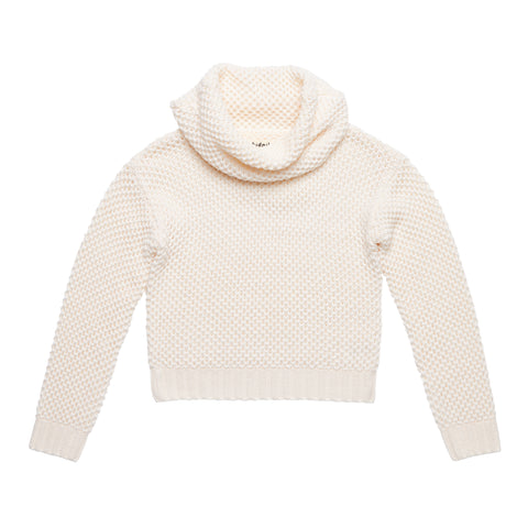 Popcorn Cowl Neck Sweater - Kidpik Cream