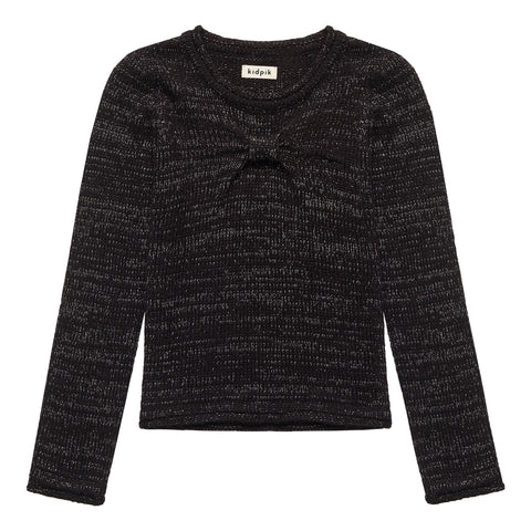 Lurex Bow Front Sweater - Black