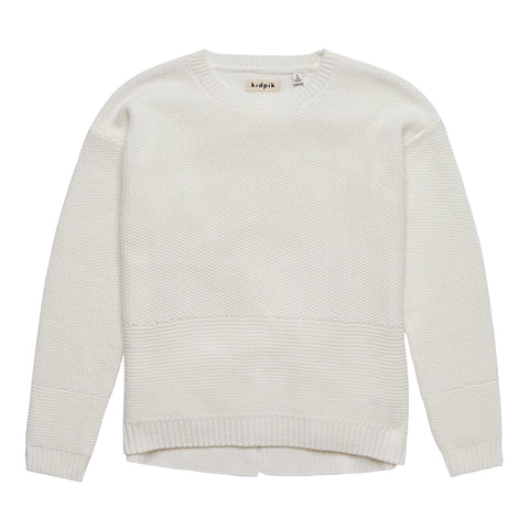 Lace Up Back Crewneck Sweater - Kidpik Cream