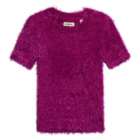 Fuzzy Short Sleeve Sweater - Festival Fuchsia