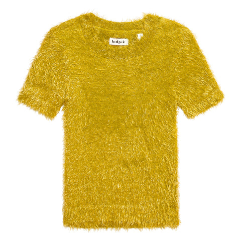 Fuzzy Short Sleeve Sweater - Mango Mojito