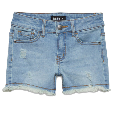 Fun Fringe Denim Shorts - Zinnia Wash