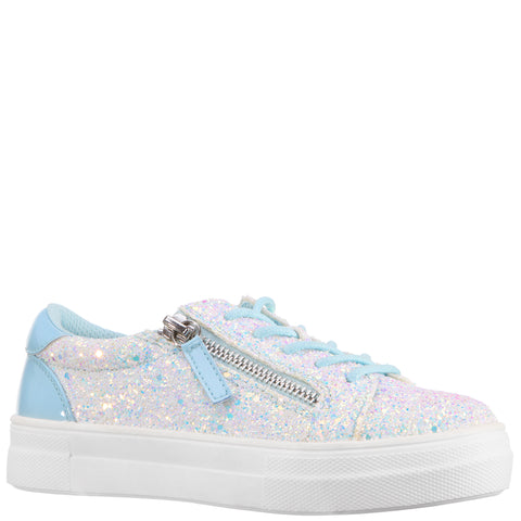 Glitter Zipper Sneaker - Light Blue