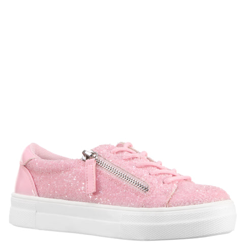 Glitter Zipper Sneaker - Light Pink