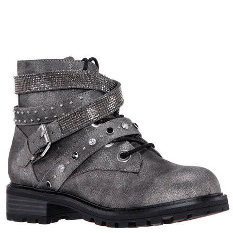 Stone Studded Combat Boot - Pewter