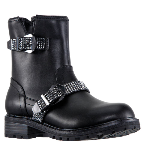 Rhinestone Biker Boot - Black