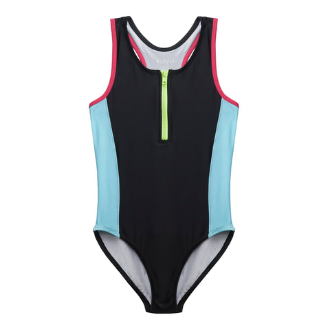 Colorblock Zip Swimsuit - Black
