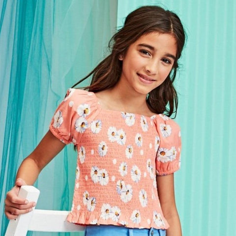 Daisy Puff Sleeve Smock Top