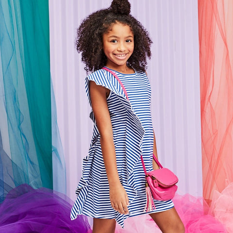 Stripe Side Ruffle Tank Dress