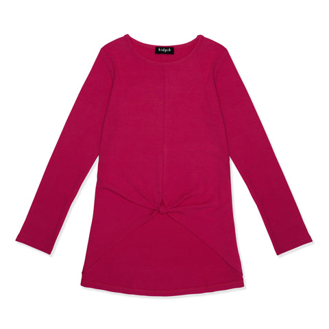 Knotted Rib Top - Pink Peacock