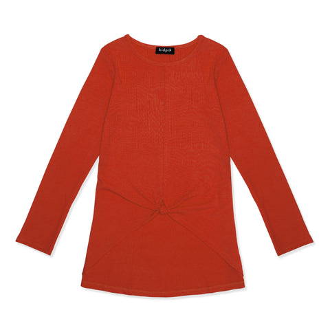 Knotted Rib Top - Poppy Red