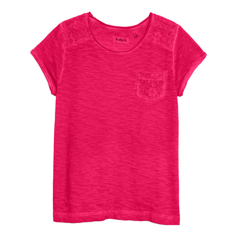 Lace Pocket Tee - Fuchsia Purple