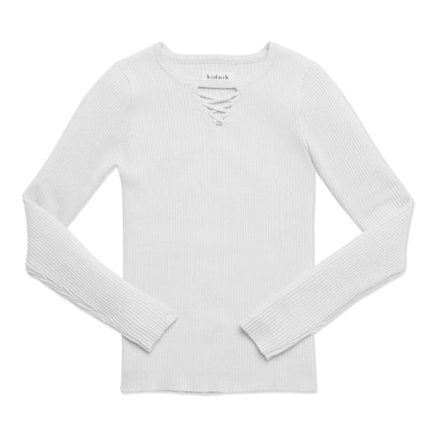 Lace Up Rib Sweater - White
