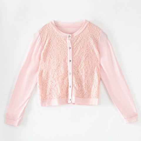 Lace Front Cardigan - English Rose