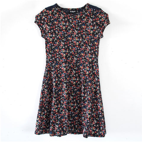 Lace Shoulder Floral Skater Dress - Kidpik Navy