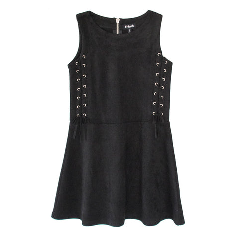 Lace Up Side Suede Jumper - Black