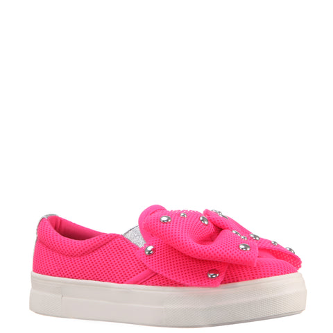 Studded Bow Sneaker - Neon Pink