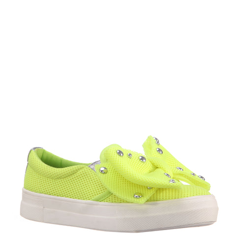 Studded Bow Sneaker - Neon Yellow