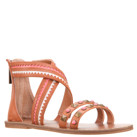 Studded Crossed Ankle Sandal - Tan