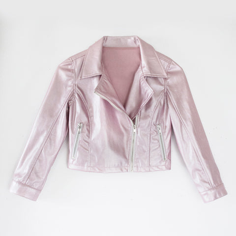 Pearlized Pleather Moto - Blush