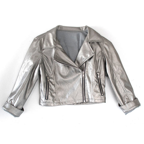 Pearlized Pleather Moto - Silver