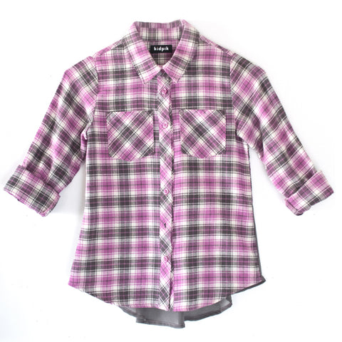 Plaid Flannel Shirt - Mulberry