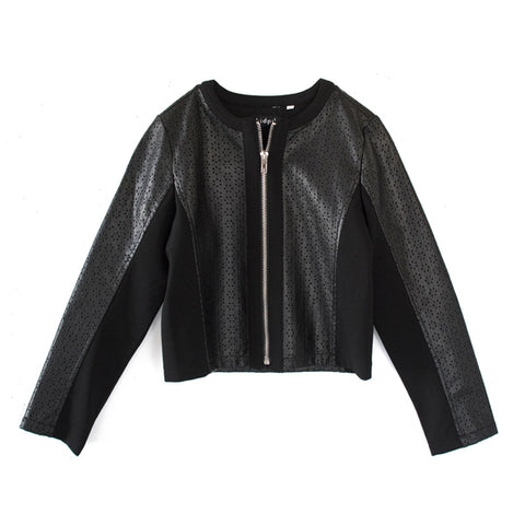 Pointelle Pleather Moto Jacket - Black