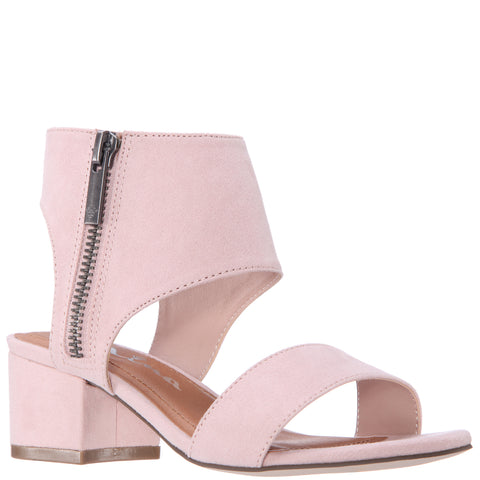 Sueded Block Heel Sandal - Blush
