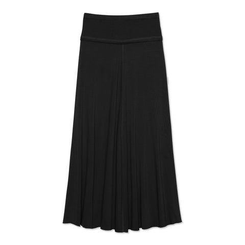 Raw Edge Maxi Skirt - Black