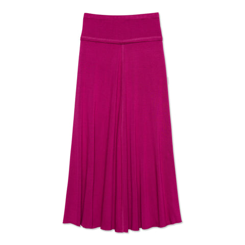 Raw Edge Maxi Skirt - Festival Fuchsia