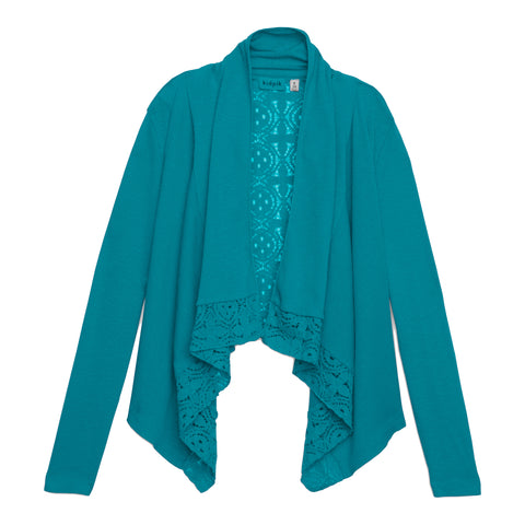 Rib Lace Flyaway Cardigan - Capri Breeze