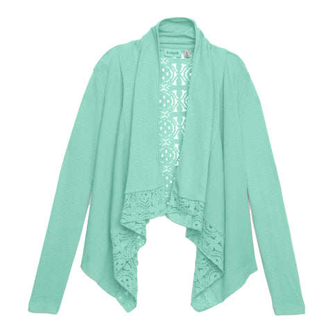 Rib Lace Flyaway Cardigan - Lucite Green
