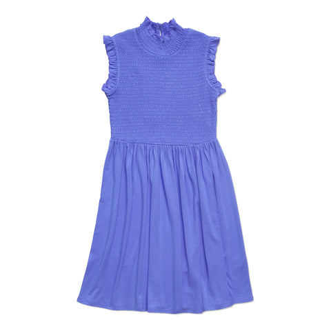 Ruffle Sleeve Smock Dress - Azure Blue