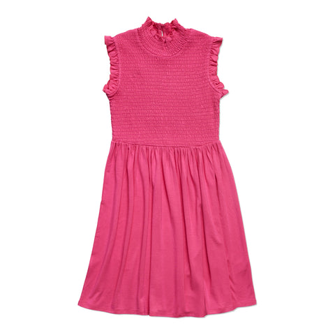 Ruffle Sleeve Smock Dress - Pink Peacock