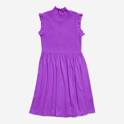Ruffle Sleeve Smock Dress - Striking Purple