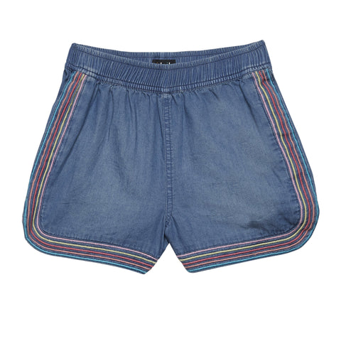 Emb Stripe Denim Jog Short - Mexico Wash