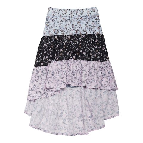 Multi Tiered Ditsy Floral Skirt - Multi