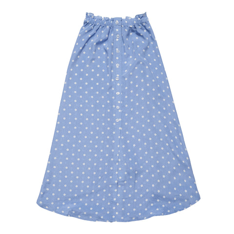 Button Front Dot Maxi Skirt - Azure Blue