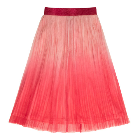 Dip Dye Pleated Mesh Skirt - Pink Peacock