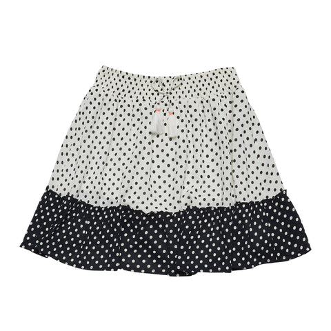 Polka Dot Ruffle Hem Skirt - Black